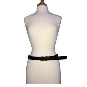 "VALENTINO Black Leather Belt 42"" Long"
